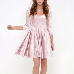 Lulu's I Love You Amore Velvet Skater Dress | EUC
